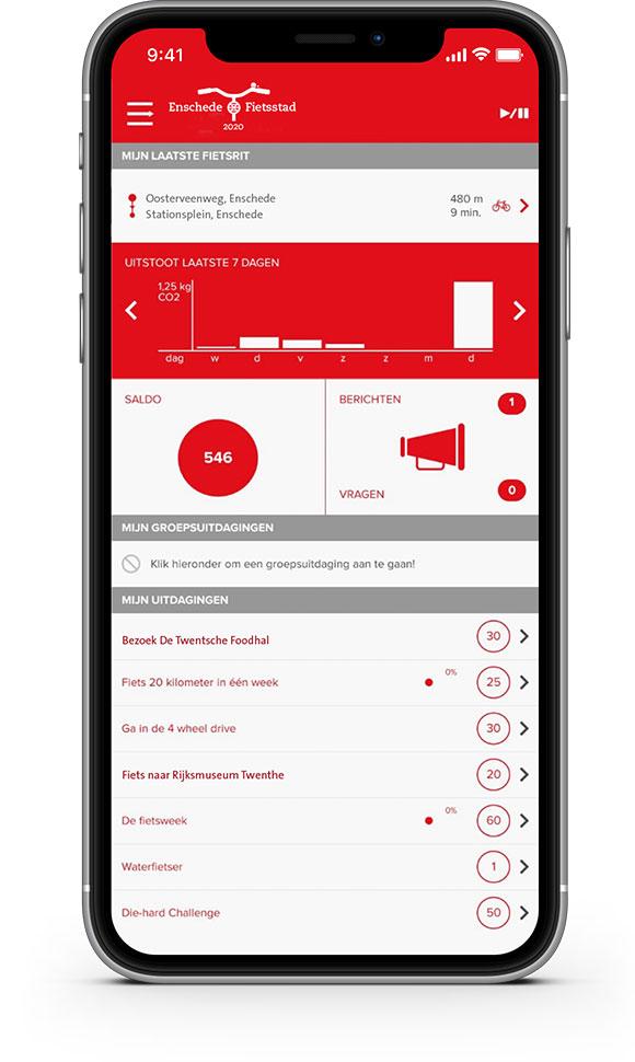 Voorbeeld van de Enschede Fietst-app